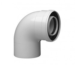 Колено коаксиал. алюм. 90 гр. 60/100 CС-Ar-01 (с хомутом и манжетой, адаптер 60мм м/м) Vaillant,Ariston,Baxi